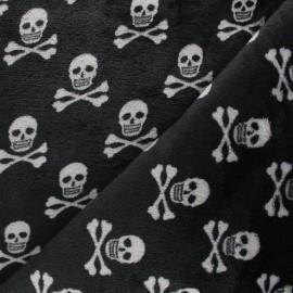 Tissu doudou Skull - noir x 10 cm