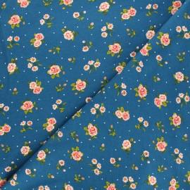 Tissu sweat Poppy Roses - bleu x 10cm
