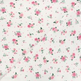 Poppy Sweatshirt cotton fabric - white Roses x 10cm