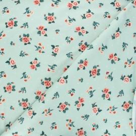 Poppy Sweatshirt cotton fabric - green Roses x 10cm
