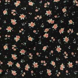 Poppy Sweatshirt cotton fabric - blue Roses x 10cm