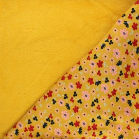 Tissu sweat envers minkee Poppy Flowers - framboise x 10cm