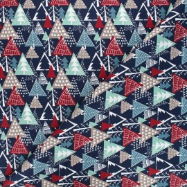 Cotton fabric - midnight blue Winter forest x 10cm