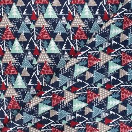 Tissu coton Winter forest - bleu nuit x 10cm