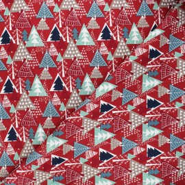 Cotton fabric - red Winter forest x 10cm