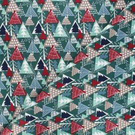 Tissu coton Winter forest - vert foncé x 10cm