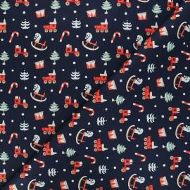 Cotton fabric - midnight blue Childhood toys x 10cm