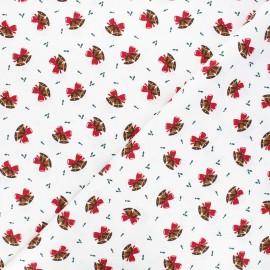 Tissu coton Jingle bells - écru x 10cm