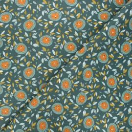 Cretonne cotton fabric - pine green Zoleia x 10cm