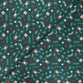 Cotton fabric - dark green Hello Rudolph x 10cm