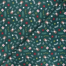 Tissu coton Hello Rudolph - vert foncé x 10cm