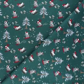 Tissu coton Sliding penguin - vert foncé x 10cm