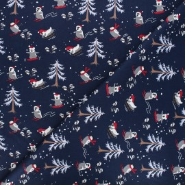 Cotton fabric - midnight blue Sliding penguin x 10cm