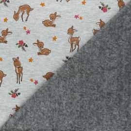 Tissu sweat envers minkee Tina l'écureuil - gris chiné x 10cm