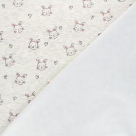 Tissu sweat envers minkee Lovely rabbit - écru chiné x 10cm