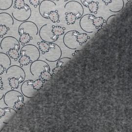 Tissu sweat envers minkee Nino le chat - gris chiné x 10cm