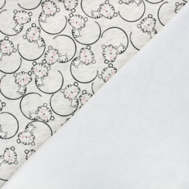 Tissu sweat envers minkee Nino le chat - écru chiné x 10cm