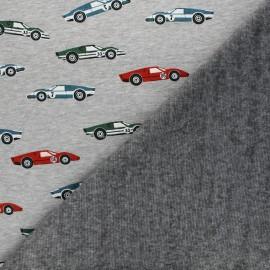 Tissu sweat envers minkee Racing - gris chiné x 10cm