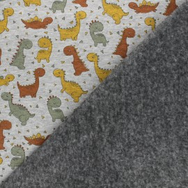 Tissu sweat envers minkee Dino Team - gris chiné x 10cm