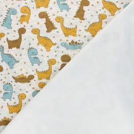Sweatshirt fabric with minkee reverse - mottled raw Dino Team x 10cm