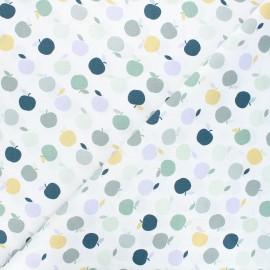 Tissu coton An apple a day - blanc/vert x 10cm