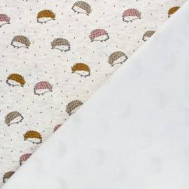 Tissu sweat envers minkee Pica le hérisson - écru chiné x 10cm