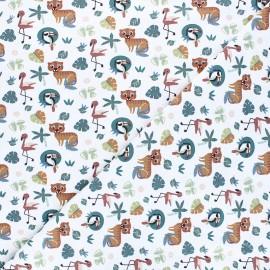 Tissu jersey Dans la jungle - blanc x 10cm