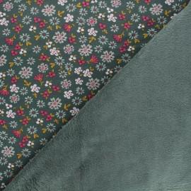 Tissu sweat envers minkee Poppy Flowers - vert x 10cm