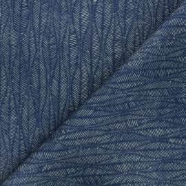 Cotton canvas fabric Thevenon - dark blue Leaf x 50cm