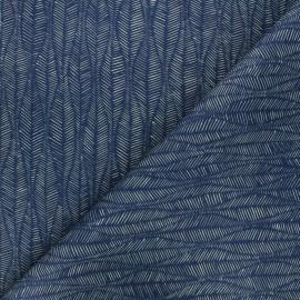 Tissu toile de coton Thevenon Leaf - bleu foncé x 10cm