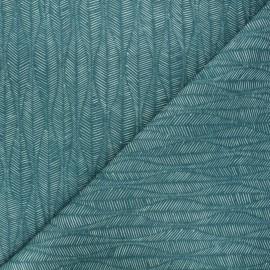 Tissu toile de coton Thevenon Leaf - bleu pacifique x 10cm