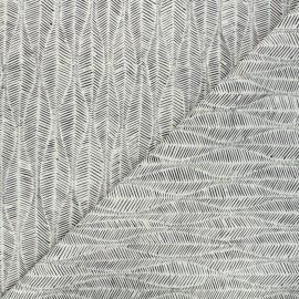 Cotton canvas fabric Thevenon - greige Leaf x 10cm