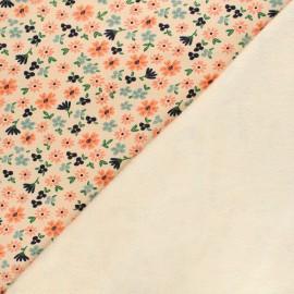 Tissu sweat envers minkee Poppy Flowers - crème x 10cm