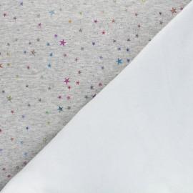 Tissu sweat envers minkee Galaxie cosmique - gris chiné x 10cm