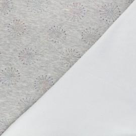 Tissu sweat envers minkee Pissenlit coloré - gris chiné x 10cm
