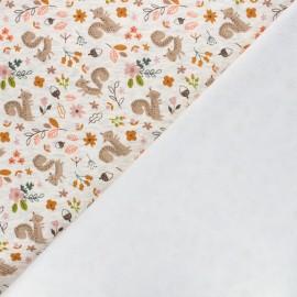 Sweatshirt fabric with minkee reverse - mottled grey Tina l'écureuil x 10cm