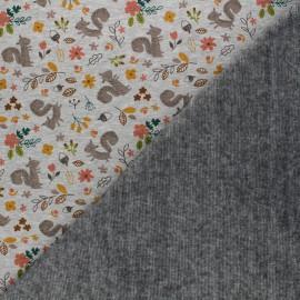 Sweatshirt fabric with minkee reverse - mottled grey Barnabé L'amoureux x 10cm