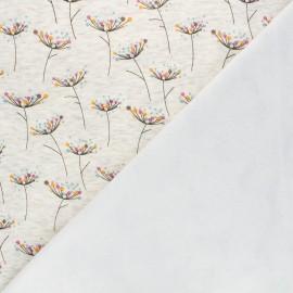 Tissu sweat envers minkee Pissenlit coloré - écru chiné x 10cm