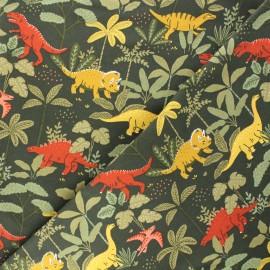 Tissu sweat léger Poppy Dino - vert x 10cm
