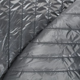 Quilted lining metallic fabric - grey  Stéfi x 10cm