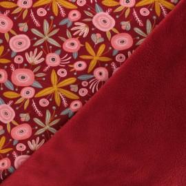 Tissu sweat envers minkee Poppy Flower - bordeaux x 10cm
