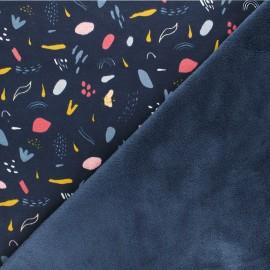 Tissu sweat envers minkee Poppy Brushes - bleu marine x 10cm