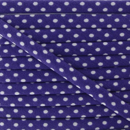 Cord with white polka dots - Purple