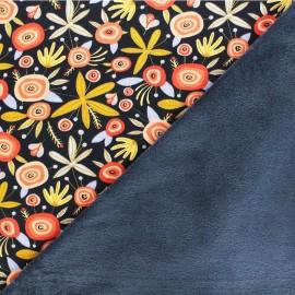 Tissu sweat envers minkee Poppy Flower - bleu marine x 10cm