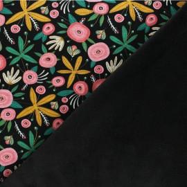 Tissu sweat envers minkee Poppy Flower - noir x 10cm