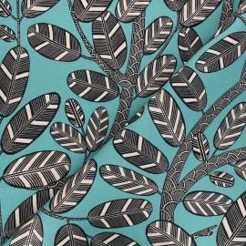 Tissu toile de coton Thevenon Elis - bleu pacifique x 10cm