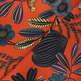 Cotton canvas fabric Thevenon - orange Orphée x 10cm