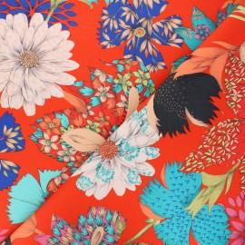 Cotton canvas fabric Thevenon - red Kimono flowers x 10cm