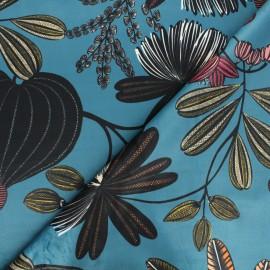 Thevenon short velvet fabric - emerald blue Orphée x 10cm