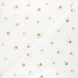 Printed flannel Fabric - raw Lapinou x 10cm